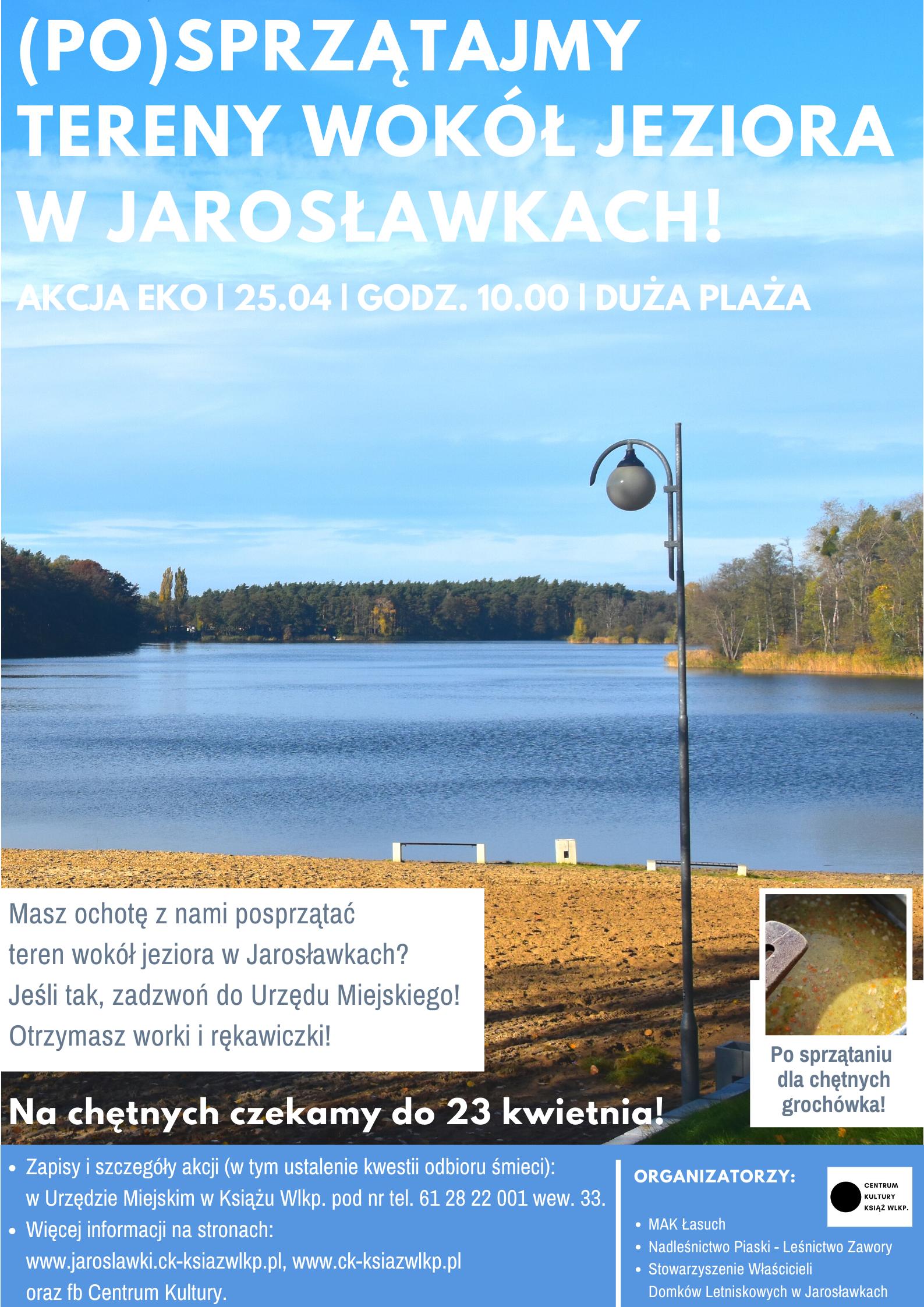 Na obrazku jest jezioro, las, lampa i tekst